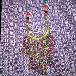 """Necklace Gold Color Beaded NEW 18"""" w extender"""
